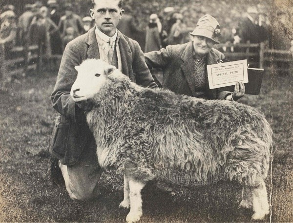 Beatrix Potter at Eskdale Show with one of her Herdwick Sheep, likely from Penny Hill Farm